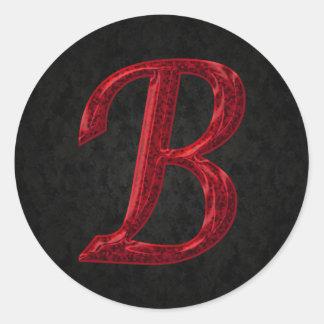 Red Sparkle Monogram B Classic Round Sticker