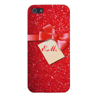 Red sparkle with ribbon and monogram cover for iPhone 5/5S