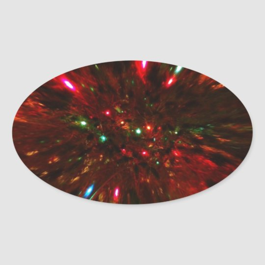 Red Sparkler Oval Sticker