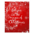 Red Sparkles with Christmas Magic Quote Poster
