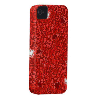 Red sparkly hearts iPhone 4 cover