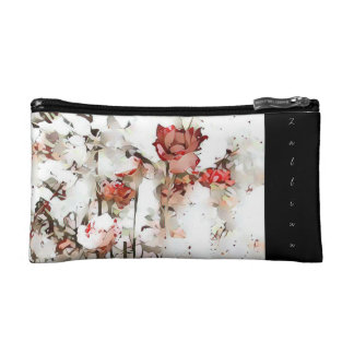 Red Spattered Roses Cosmetic Bag