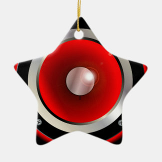 Red Speaker Cone Ceramic Star Ornament