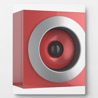 Red speaker plaque