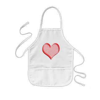 Red Speckled Valentine Heart Shape Kids Apron