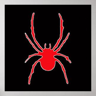 Red Spider on Black Poster