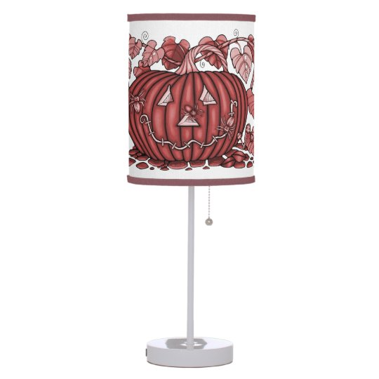 Red Spidery Pumpkin Table Lamp