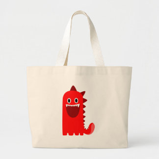 Red Spikey Monster Large Tote Bag