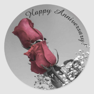 Red Splashed Roses Photograph | Happy Anniversary Classic Round Sticker