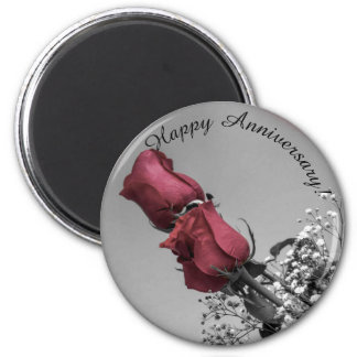 Red Splashed Roses Photograph | Happy Anniversary Magnet