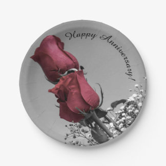Red Splashed Roses Photograph | Happy Anniversary Paper Plate