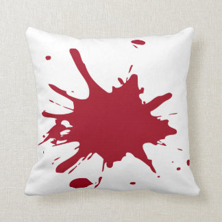 Red Splat Solid Background Throw Pillow