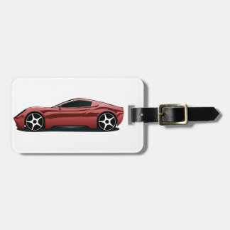 Red sport car luggage tag