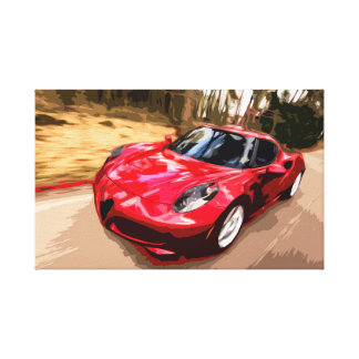 Red Sports Car in High Speed Canvas