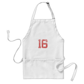 Red Sports Jerzee Number 16 Apron