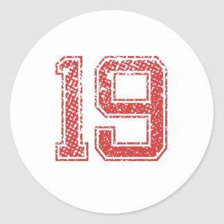Red Sports Jerzee Number 19 Classic Round Sticker
