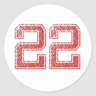 Red Sports Jerzee Number 22 Classic Round Sticker
