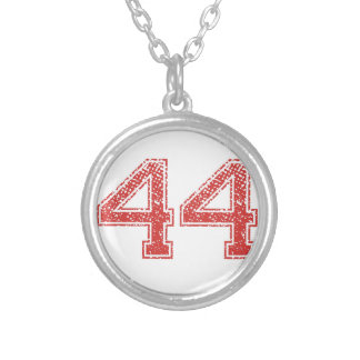 Red Sports Jerzee Number 44 Silver Plated Necklace