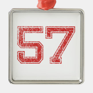 Red Sports Jerzee Number 57 Metal Ornament