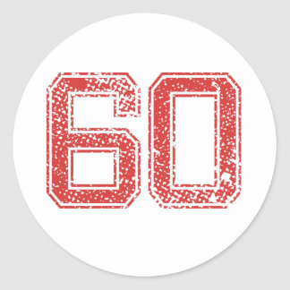Red Sports Jerzee Number 60 Classic Round Sticker