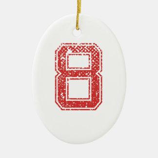 Red Sports Jerzee Number 8 Ceramic Ornament