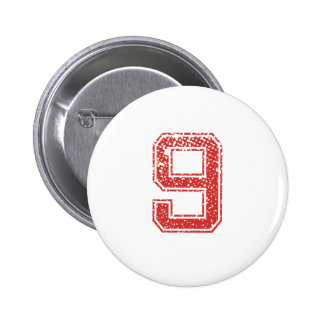 Red Sports Jerzee Number 9 2 Inch Round Button