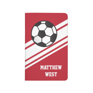Red Sporty Stripes Personalized Soccer Journal