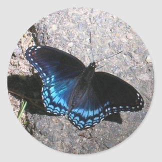 Red Spotted Admiral Butterfly Round Sticker