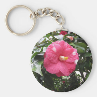 Red spotted white flower of Camellia Marmorata Keychain