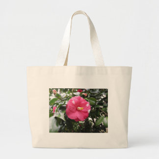 Red spotted white flower of Camellia Marmorata Large Tote Bag