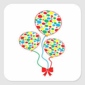 Red, spotty, colourful, balloon sticker