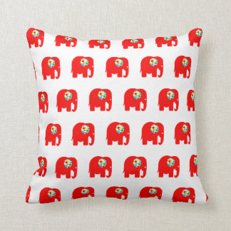 Red, spotty, colourful, elephant pillow