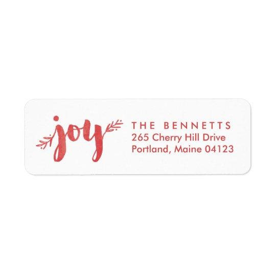 Red Sprigs of Joy Christmas Return Address Label