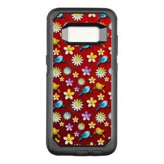 Red Spring Birds and Flowers OtterBox Commuter Samsung Galaxy S8 Case