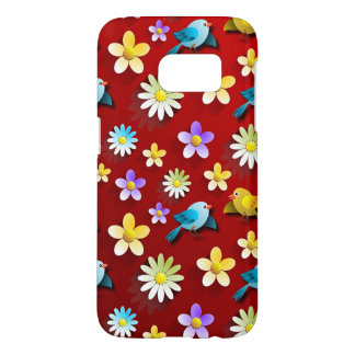 Red Spring Birds and Flowers Samsung Galaxy S7 Case