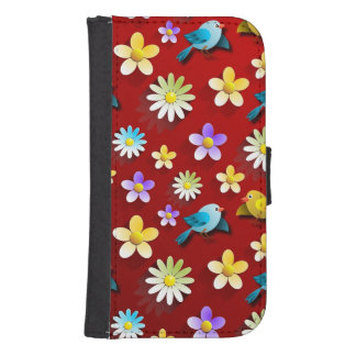 Red Spring Birds and Flowers Samsung S4 Wallet Case