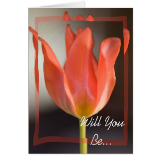Red Spring Tulip Will You Be My Bridesmaid Invite