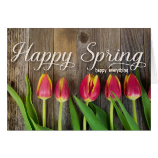 red spring tulips card