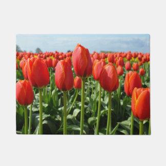 Red spring tulips doormat