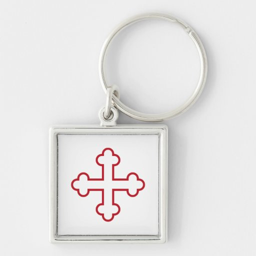 red square apostles cross or budded cross keychain