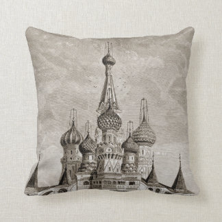 Red Square Cathedral Moscow Onion Dome Engraving Throw Pillow