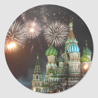 red square fireworks classic round sticker