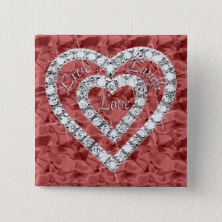 Red Square Live Laugh Love Diamond Heart Button