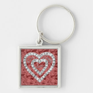 Red Square Live Laugh Love Diamond Heart Keychain