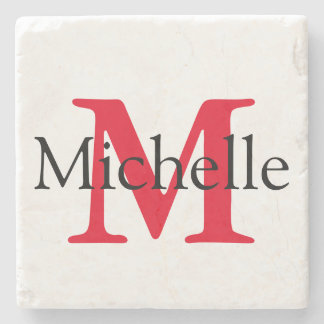 Red Square Monogram Personalized Stone Beverage Coaster
