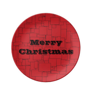 Red Squared Christmas Plate