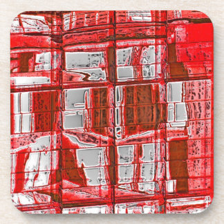 Red Squares, Reflections in Windows Coasters