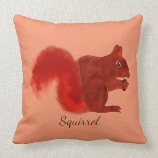 Red Squirrel Cute Woodland Animal Throw Pillow