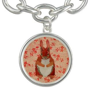 Red Squirrel Floral Charm Bracelet