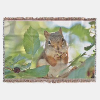 Red squirrel in the mulberry tree throw blanket